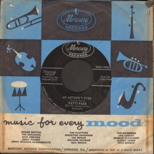Page, Patti - My Mother's Eyes/With My Eyes Wide Open I'm Dreaming (with Mercury company sleeve) - EX8/ - 45 rpm Records