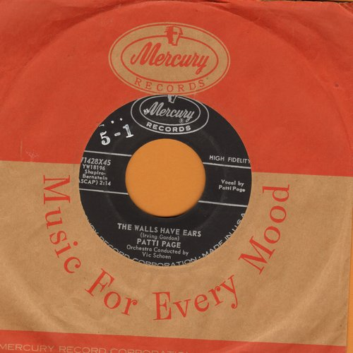Page, Patti - The Walls Have Ears/My Promise (with Mercury company sleeve) - NM9/ - 45 rpm Records