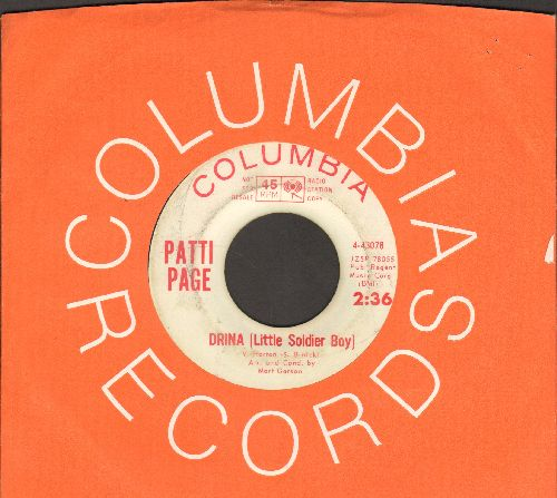 Page, Patti - Drina (Little Soldier Boy)/Promises (with Columbia company sleeve) - EX8/ - 45 rpm Records
