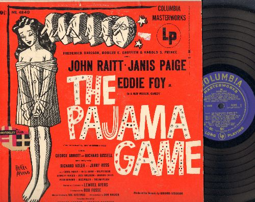 Raitt, John, Janis Paige, Eddie Foy - The Pajama Game - Original Broadway Cast Recording (vinyl MONO LP record, RARE blue label early pressing!)(soc) - EX8/EX8 - LP Records