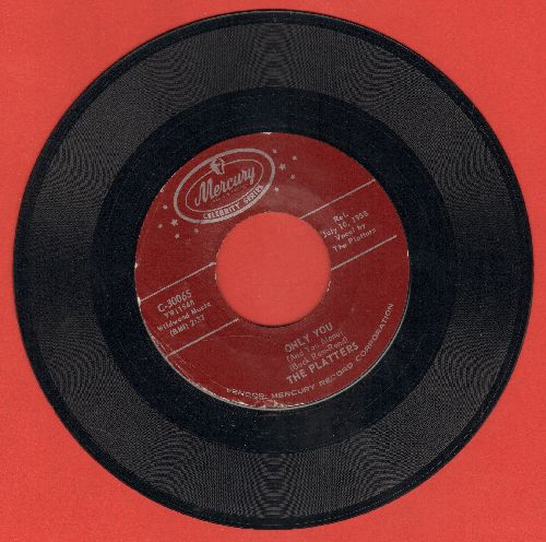 Platters - Only You/The Great Pretender (RED label early double-hit re-issue) - NM9/ - 45 rpm Records