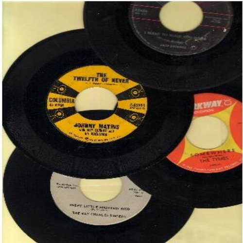 Tymes, Johnny Mathis, Ray Charles Singers, Fats Domino - Vintage Ballads 4-Pack: Original first issue singles, in very good or better condition. Hits include I Want To Walk You Home, The Twelfth Of Never, Somewhere, Love Me With All Your Heart. Shipped in