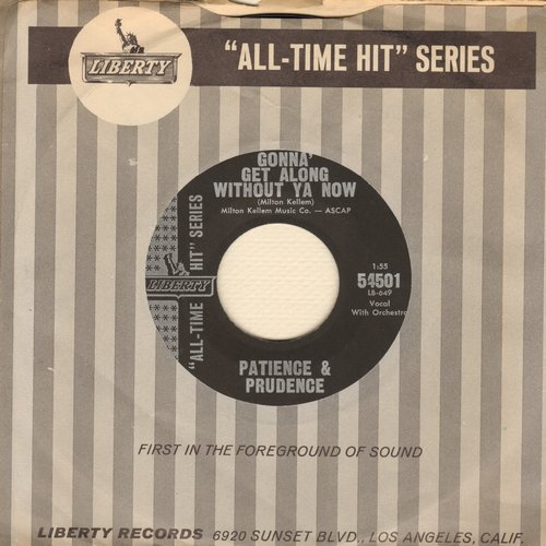 Patience & Prudence - Gonna Get Along Without You Now/Tonight You Belong To Me (early re-issue with RARE vintage Liberty company sleeve) - NM9/ - 45 rpm Records