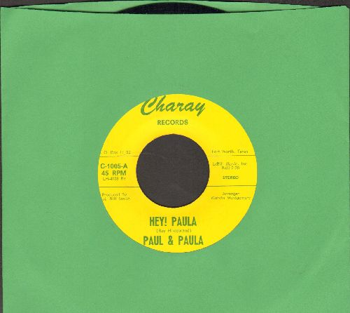 Paul & Paula, Bruce Channell - Hey Paula/Hey! Baby (by Bruce Channell on flip-side) (early double-hit re-issue) - NM9/ - 45 rpm Records