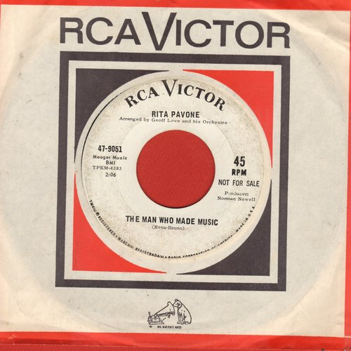 Pavone, Rita - The Man Who Made The Music (FANTASTIC English version of Italian hit Papa Pommodore)/Heart (Cuore) (DJ advance pressing with vintage RCA company sleeve) - EX8/ - 45 rpm Records