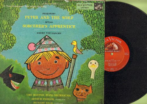 Boston Pops, Arthur Fiedler, conductor - Peter And The Wolf (Narrated by Richard Hale)/Sorcerer's Apprentice (vinyl MONO LP record, RARE red dog on top label Pressing) - NM9/VG6 - LP Records