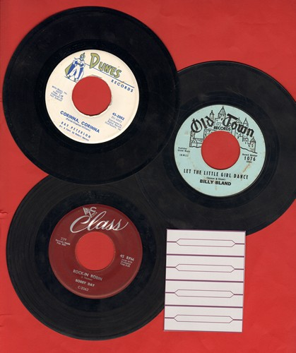 Bland, Billy, Bobby Day, Ray Peterson - Vintage Teen Idol 3-Pack. First pressing 45s include hits Corinna Corinna, Let The Little Girl Dance and Rock-In Robin. Shipped n plain white paper sleeves with 4 blank juke box labels. - EX8/ - 45 rpm Records