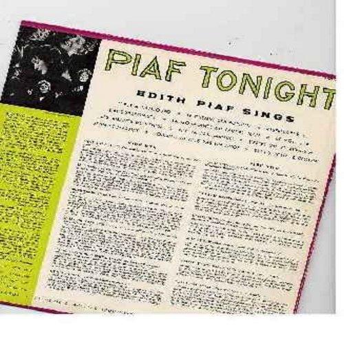 Piaf, Edith - Piaf Tonight: Les Amants De Venise, Jean Et Martine, Bravo Pour Le Clown!, L'Accordioniste, C'est Hambourg (vinyl MONO LP record) - M10/EX8 - LP Records