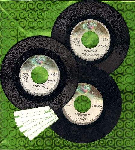 Pointer Sisters - Trio of Pointer Sisters Hit 45s: Jump (For My Love), Neutron Dance and Slow Hand. First pressing 45s shipped in plain white paper sleeves with 4 blank juke box labels. GREAT for a Juke Box! - EX8/ - 45 rpm Records