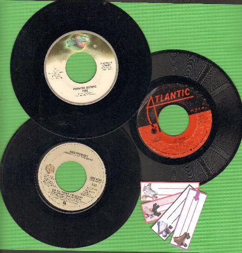 Chic, Pointer Sisters, Rod Stewart - Disco 3-Pack. First issue pressings includes hits Le Freak, Fire and Do Ya Think I'm Sexy? - Shipped in plain white paper sleeves with 4 blank juke box labels. - VG7/ - 45 rpm Records