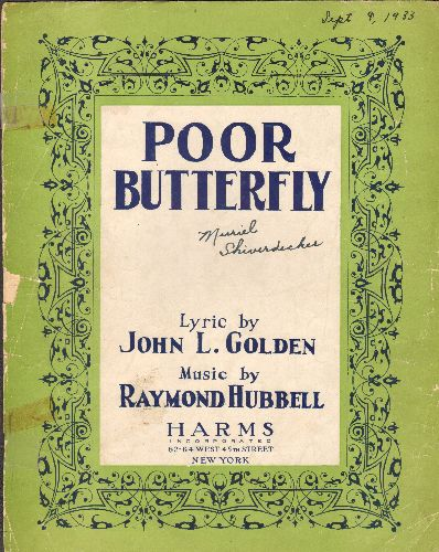 Poor Butterfly - Poor Butterfly - Vintage 1933 SHEET MUSIC for the popular Standard recorded by many artists including Rock & Roll Teen Idols. - G5/ - Sheet Music