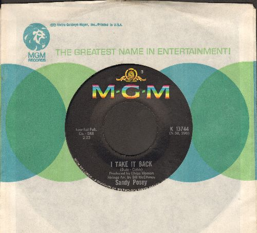Posey, Sandy - I Take It Back/The Boy I Love (with MGM company sleeve) - VG7/ - 45 rpm Records