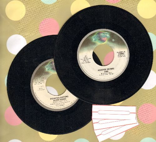Pointer Sisters - 2 first pressing 45s for the price of 1! Hits in clude Fire and Slow Hand. Shipped in plain white paper sleeves with 3 blank juke box labels. - VG7/ - 45 rpm Records