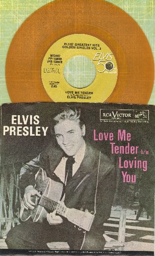 Presley, Elvis - Love Me Tender/Anyway You Want Me (GOLD VINYL re-issue with picture sleeve) - NM9/NM9 - 45 rpm Records