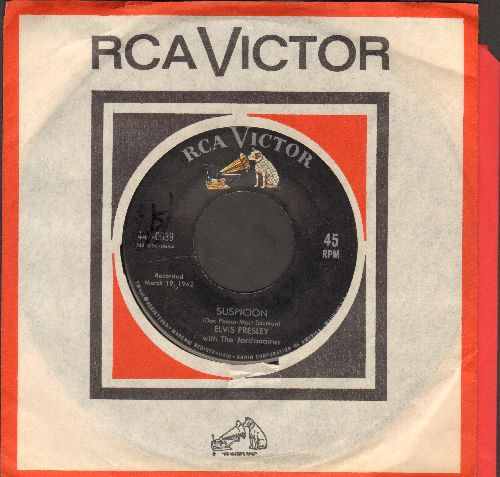 Presley, Elvis - Suspicion/Kiss Me Quick (first issue with RCA company sleeve) - EX8/ - 45 rpm Records