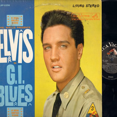Presley, Elvis - G. I. Blues - Original Motion Picture Sound Track: Wooden Heart, Pocketful Of Rainbows, Blue Suede Shoes, Shoppin' Around, Frankfort Special (vinyl STEREO LP record, black label, dog on top, first issue) - NM9/VG7 - LP Records