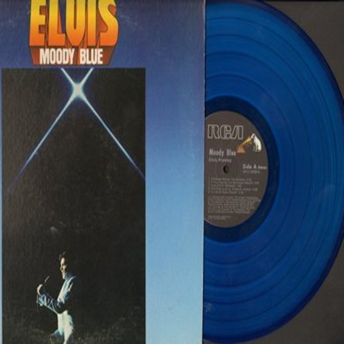 Presley, Elvis - Moody Blue: Unchained Melody, He'll Have To Go, Pldging My Love, If You Love Me (Let Me Know) (Blue Vinyl issue Stereo LP record) - NM9/VG7 - LP Records