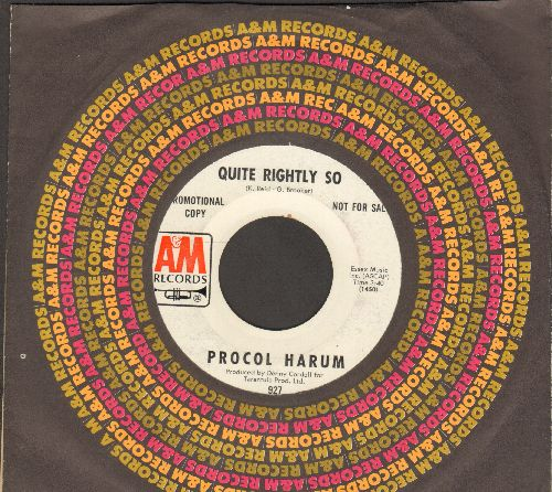 Procol Harum - Quite Rightly So/In The Wee Small Hours Of Sixpence (DJ advance pressing with A&M company sleeve) (wol) - EX8/ - 45 rpm Records