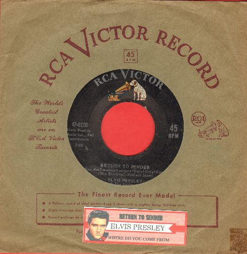 Presley, Elvis - Return To Sender/Where Do You Come From (first issue, dog on top, with vintage RCA company sleeve and juke box label)) - EX8/ - 45 rpm Records
