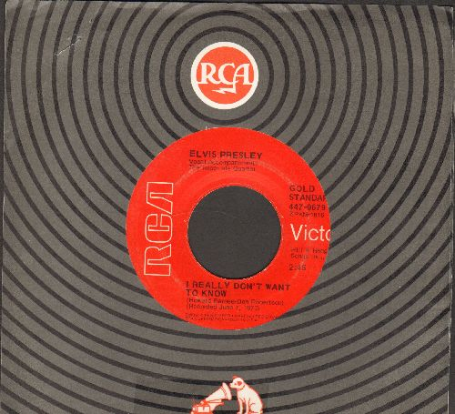 Presley, Elvis - I Really Don't Want To Know/There Goes My Everything (re-issue with RCA company sleeve) - VG7/ - 45 rpm Records