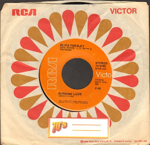 Presley, Elvis - Burning Love/It's A Matter Of Time (with RCA company sleeve) - EX8/ - 45 rpm Records
