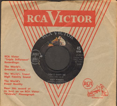 Powers, Joey - Don't Envy Me/Me, Myself And I (with vintage RCA company sleeve) - VG7/ - 45 rpm Records
