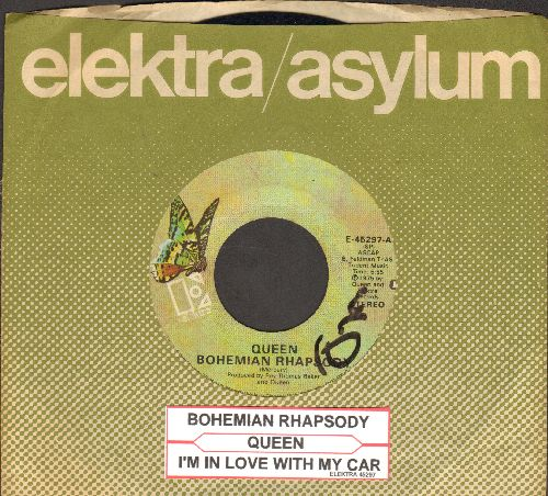 Queen - Bohemian Rhapsody/I'm In Love With My Car (with Eltkra company sleeve and juke box label) (wol) - VG7/ - 45 rpm Records