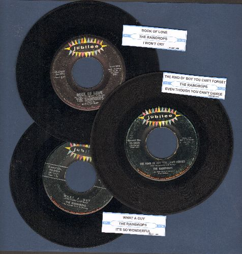 Raindrops - 3-Pack of first issues with juke box labels includes hits The Kind of Boy You Can't Forget/Book Of Love and What A Guy. GREAT for a juke box! - VG7/ - 45 rpm Records