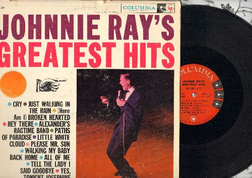 Ray, Johnnie - Johnnie Ray's Greatest Hits: Cry, Just Walking In The Rain, Hey There, Please Mr. Sun, All Of Me (vinyl MONO LP record, (red/black label, 6 eyes early pressing) - EX8/VG7 - LP Records