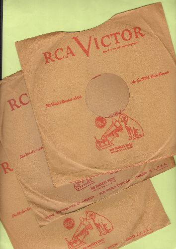 Company Sleeves - 10 inch vintage RCA company sleeve (exactly as pictured), shipped in 10 inch clear plastic sleeve. Enhances and protects you collectable 10 inch 78 rpm record! DUE TO POST OFFICE REGULATIONS THIS ITEM CAN ONLY BE SENT PRIORITY MAIL.  YOU