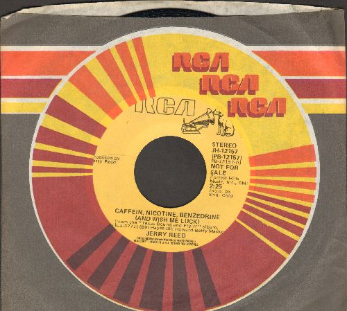 Reed, Jerry - Caffein, Nicotine, Benzodrine (And Wish Me Luck) (DJ advance copy featuring STEREO and MONO version, with RCA company sleeve) - NM9/ - 45 rpm Records