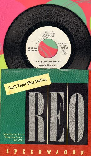 REO Speedwagon - Can't Fight The Feeling (double-A-sided DJ advance pressing with picture sleeve) - NM9/EX8 - 45 rpm Records