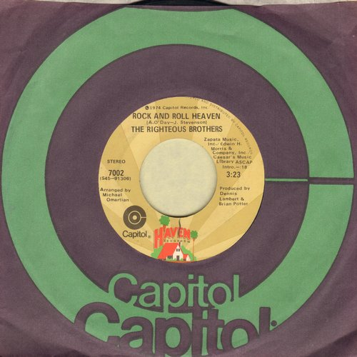Righteous Brothers - Rock And Roll Heaven/I Just Wanna Be Me (with Capitol company sleeve) - EX8/ - 45 rpm Records