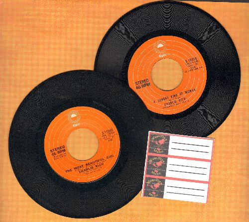 Rich, Charlie - 2 first issue 45s for the price of 1! The Most Beautiful Girl (In The World)/A Sunday Kind Of Woman (shipped in plain paper sleeves with 3 blank juke box labels) - NM9/ - 45 rpm Records