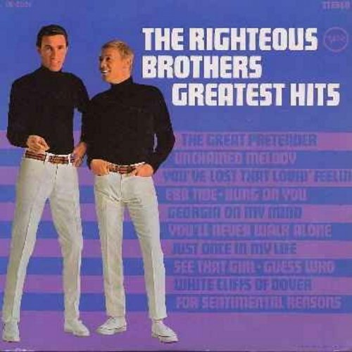 Righteous Brothers - Greatest Hits: Unchained Melody, You've Lost That Lovin' Feelin', Georgia On My Mind, Ebb Tide, Guess Who, White Cliffs Of Dover, For Sentimental Reasons (vinyl STEREO LP record) - VG7/VG7 - LP Records