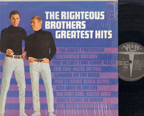 Righteous Brothers - Greatest Hits: Unchained Melody, You've Lost That Lovin' Feelin', Georgia On My Mind, Ebb Tide, Guess Who, White Cliffs Of Dover, For Sentimental Reasons (vinyl STEREO LP record) - NM9/NM9 - LP Records