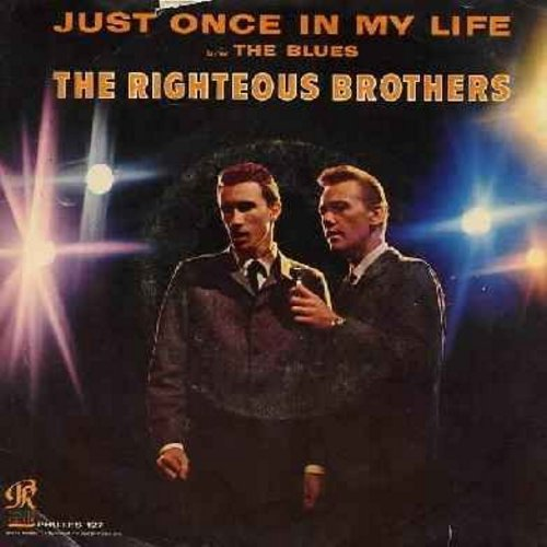Righteous Brothers - Just Once In My Life/The Blues (with picture sleeve) - EX8/VG7 - 45 rpm Records
