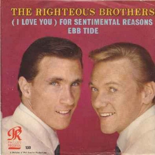 Righteous Brothers - Ebb Tide/(I Love You) For Sentimental Reasons (with picture sleeve) - NM9/EX8 - 45 rpm Records