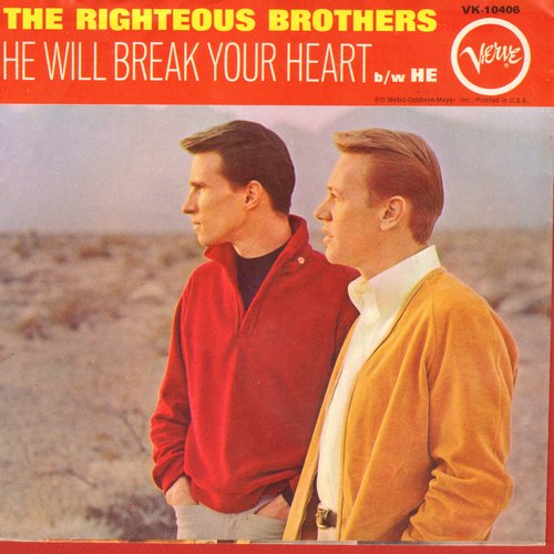 Righteous Brothers - He Will Break Your Heart/He (with picture sleeve) (bb) - EX8/VG7 - 45 rpm Records