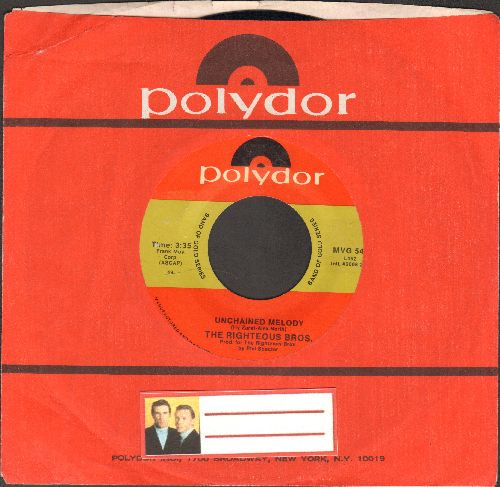 Righteous Brothers - Unchained Melody/Hung On You (double-hit re-issue with Polydor company sleeve) - NM9/ - 45 rpm Records