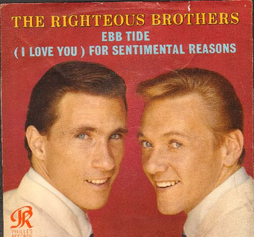 Righteous Brothers - Ebb Tide/For Sentimental Reasons (with picture sleeve) - EX8/EX8 - 45 rpm Records