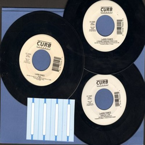 Rimes, LeAnn - LeAnn Rimes 3-Pack of 45s - Hits include Blue, How Do I Live and Looking Through Your Eyes. Shipped in plain white paper sleeves with 4 blank juke box labels. - NM9/ - 45 rpm Records