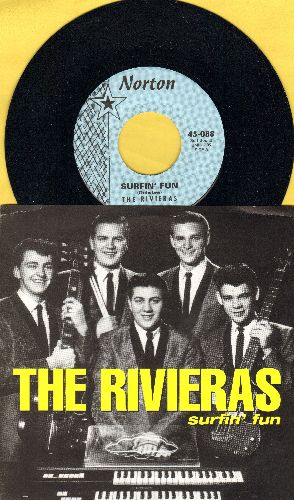 Rivieras - Surfin' Fun/I'm Lookin' For Someone To Love (re-issue of vintage Drag-Surf recordings with picture sleeve) - M10/M10 - 45 rpm Records