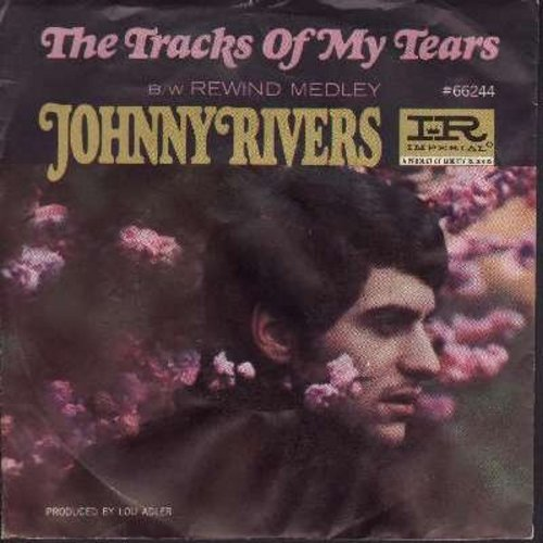 Rivers, Johnny - The Tracks Of My Tears/Rewind Medley (with picture sleeve) - EX8/EX8 - 45 rpm Records