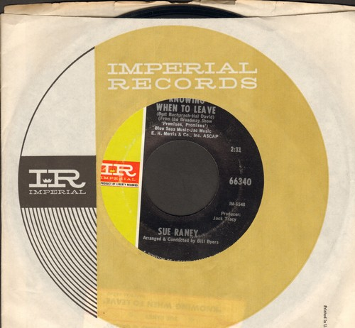Raney, Sue - Knowing When To Leave/Early Morning Blues And Greens (with Imperial company sleeve with juke box label) - NM9/ - 45 rpm Records