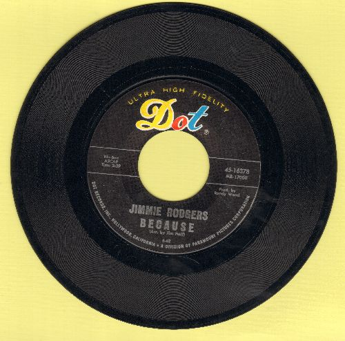 Rodgers, Jimmie - Because/No One Will Ever Know  - VG7/ - 45 rpm Records