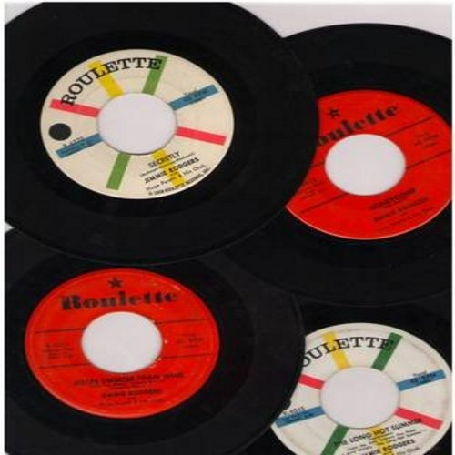 Rodgers, Jimmie - 4 Pack of vintage Jimmie Rodgers 45s. Hits include The Long Hot Summer, Honeycomb, Secretly, Kisses Sweeter Than Wine. All records are in very good or better condition. Great for a juke box or to add to a collection. - EX8/ - 45 rpm Reco