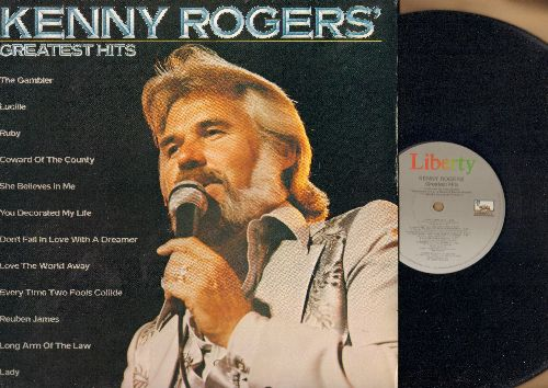 Rogers, Kenny - Greatest Hits: The Gambler, Lucille, Coward Of The County, You Decorated My Life, Lady, Don't Fall In Love With A Dreamer (vinyl LP record) - NM9/EX8 - LP Records