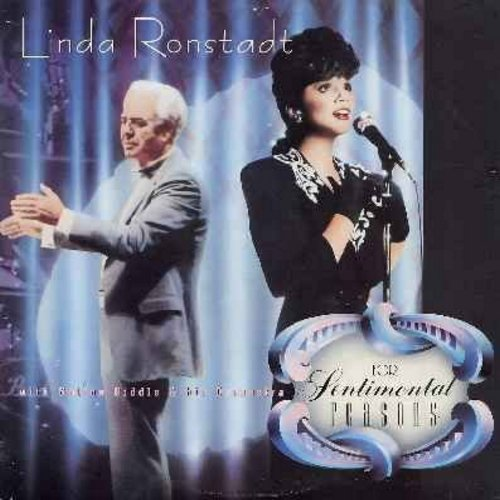 Ronstadt, Linda & Nelson Riddle & His Orchestra - For Sentimental Reasons: Am I Blue, When You Wish Upon A Star, Bewitched, You Go To My Head, My Funny Valentine (vinyl STEREO LP record with song lyrics on inner sleeve) - NM9/VG7 - LP Records