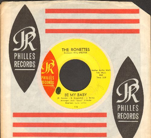 Ronettes - Be My Baby/Tedesco And Pitman (with RARE Philles company sleeve)(minor wol) - EX8/ - 45 rpm Records